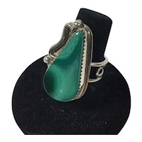 Native American or Southwestern Sterling Malachite Ring