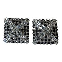 Fabulous 1980's Disco Clip Earrings in Black and Crystal Rhinestones