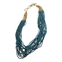 Stella and Dot Elegant Multi-Strand Bead and Gold Tone Necklace