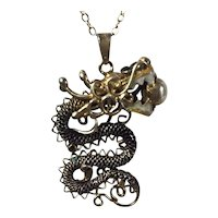 Chinese Export Dragon Pendant on 18 Inch Chain