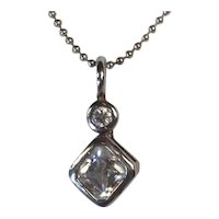 Crystal Pendant with Delicate Italian Sterling Ball Chain