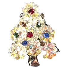 Vintage Christmas Tree Pin in AB Margarita Crystals