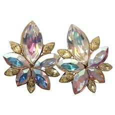 Givenchy Aurora Borealis and Gold Tone Starburst Clip Earrings