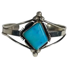 Native American - Sterling Cuff with Beautiful Asymmetrical Turquoise