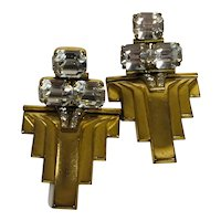 Huge Brass and Rhinestone Art Deco-Style Clip Earrings