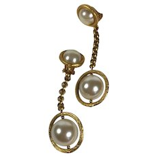 Modernist Faux Pearl and Gold Tone Drop Earrings (clip-on)