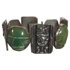 Vintage Mexican Sterling Bracelet with Carved Green Aztec Masks