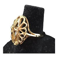 Filigree Ring in 14K Gold Electroplate