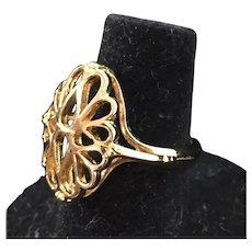 Filigree Ring in 14K Gold Electroplate