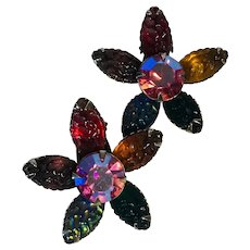 Colorful Glass and Rhinestone Flower Clip Earrings