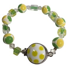 Lucite and Crystal Beaded Bracelet by Sojourner with Sterling Clasp