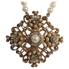 Florenza Faux Pearl Necklace with Georgian-Revival Medallion