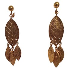 Dauplaise BoHo Gold Tone Dangling Leaf Clip Earrings