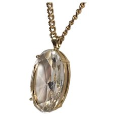 Classic Crystal Clear Pendant on Gold Tone Chain
