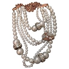 Alexis Bittar Asymmetrical Multi-Strand Faux Pearl and Rose Gold Tone Necklace