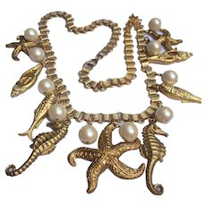 Sea Creatures in Gold Tone with Simulated Pearls on Book Chain Necklace