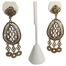 Vintage Antiqued Gold Tone Openwork Chandelier Earrings