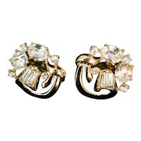 Crown Trifari Gold Tone and Rhinestone Clip Earrings