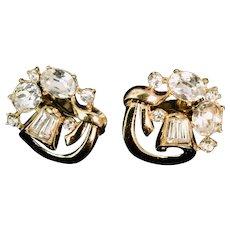 Crown Trifari Gold Tone and Rhinestone Clip Earrings