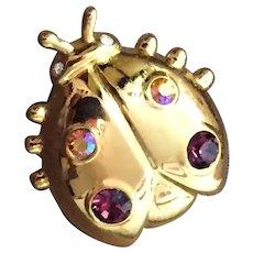ANNE KLEIN Ladybug Pin in Gold Tone with Rhinestones