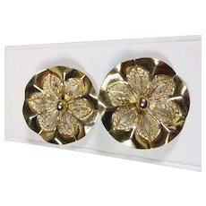 Large 1980's Gold Tone Openwork Clip Earrings