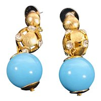 Gold Tone and Rhinestone Earrings with Turquoise Lucite Drop