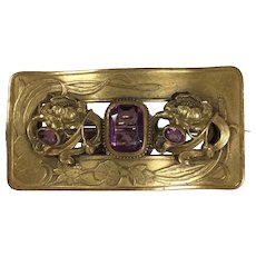 Art Nouveau Brass and Amethyst Glass Sash Pin