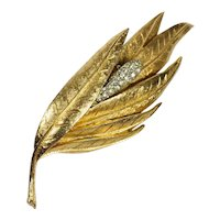 Large BSK Gold Tone Leaf Pin with Pave Rhinestones