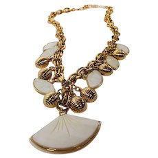 Mother of Pearl Fan, Rhinestone Baguette Necklace with 14K GF Chain and settings