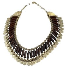 Egyptian Revival Collar in Gold Tone and Amber-Colored Lucite Beads