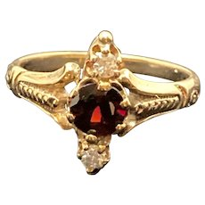 Victorian Garnet and Diamond Ring in Rose Gold Setting