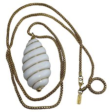 Vintage Monet White Wire Wrapped Pendant on Gold Tone Chain