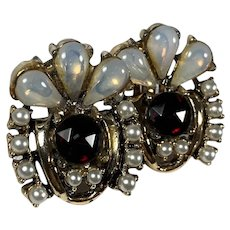 Russian Revival Faux Moonstone and Faux Ruby Clip Earrings