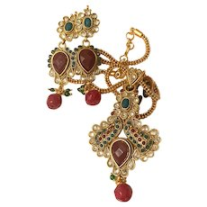 Moghul-Style Demi Parure - Gold Tone with Faux Rubies, Emeralds and Diamonds