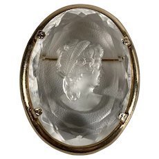 Warner Reverse-Carved Crystal Cameo - Regency Lady - Gold Tone Setting