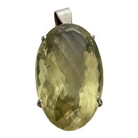 Huge Lemon Quartz - Sterling Pendant