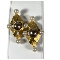 Karl Lagerfeld Baroque (Faux) Pearl and Satin Gold Tone Clip Earrings
