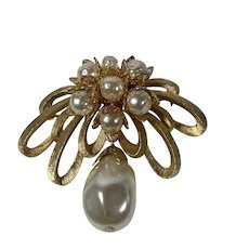 Large Classic Brooch with Gold Tone Festoon and Dangling Baroque Faux Pearl