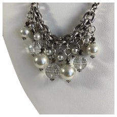 Brighton Crystal and Faux Pearl Silver Tone Necklace