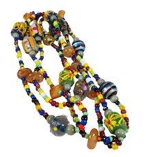 Colorful Boho Art Glass Beaded Necklace