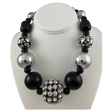 Striking Lucite Bead Necklace in Black, Silvertone and Rhinestone