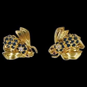 """Tiffany & Co. Diamond, Sapphire, Ruby """"Bee"""" Earrings"""