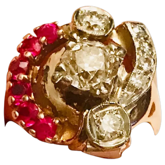 Unique 1940-50s Retro Asymmetric Diamond Ruby Ring