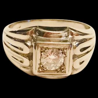 1950-60s Diamond & White Gold Engraved Ring