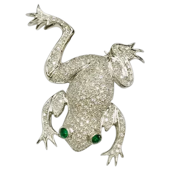"Incredible Diamond & Emerald ""Frog"" Brooch"