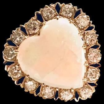 Stunning Heart Shaped Opal, Diamond and Enamel Ring