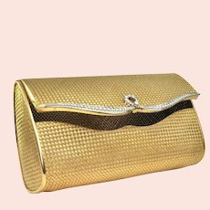5 ct Diamonds, solid 18k gold and Platinum Mid-Century French Clutch
