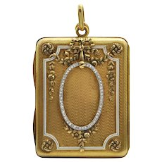 Antique French 18K Yellow Gold Diamond Makeup Compact