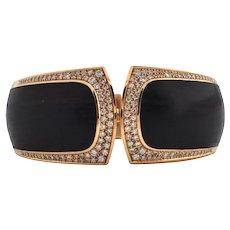 Estate Signed 'Binder' Modernist Diamond & Wood 18K Gold hinged Cuff bracelet (C.1990)