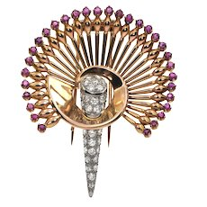 Retro 18K Yellow Gold and Platinum Diamond and Ruby Peacock Brooch C.1940